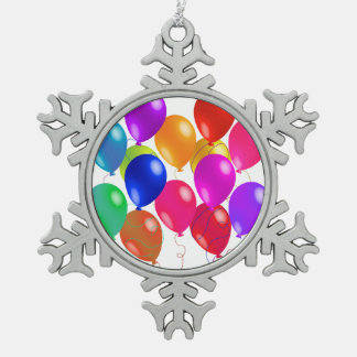 Party Balloons In A Rainbow Of Colors Snowflake Pewter Christmas Ornament