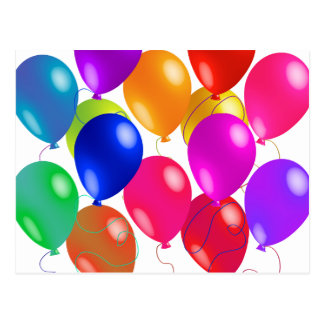 Party Balloons In A Rainbow Of Colors Postcard