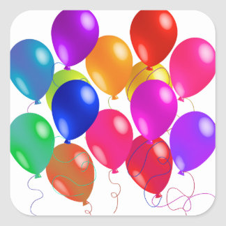 Party Balloons In A Rainbow Of Colors Sticker