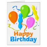 Party Balloons Large Birthday Greeting Card Card