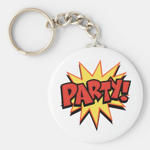 Party Bang Basic Round Button Keychain
