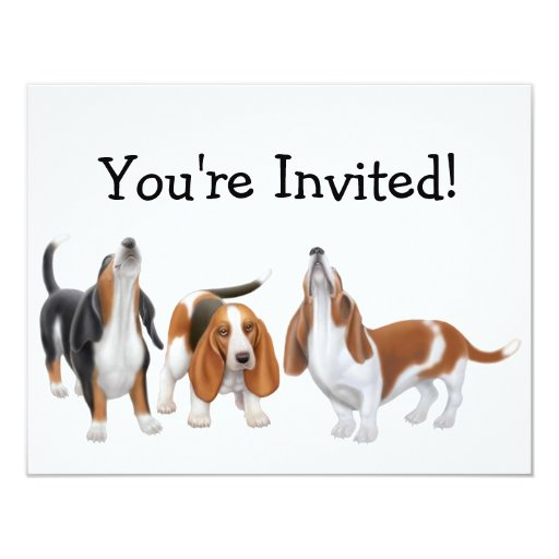 "Party Bassets Invitation 4.25"" X 5.5"" Invitation Card"