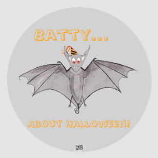 Party Bat - Batty...About Halloween! Classic Round Sticker
