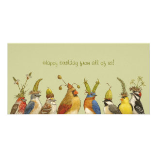 Party birds on happy birthday from all of us card photo card