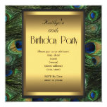 """Party Birthday Peacock Green Blue Gold 5.25"""" Square Invitation Card"""