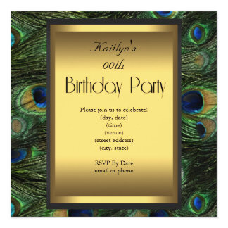 Party Birthday Peacock Green Blue Gold 5.25x5.25 Square Paper Invitation Card