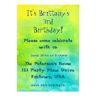 Party!  Blue and Yellow Watercolors Birthday Card