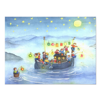 Party Boat with Children Birthday Party Invitation