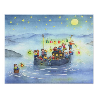 Party Boat with Children Nursery Poster