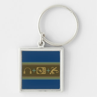 Party Breakdown Silver-Colored Square Keychain