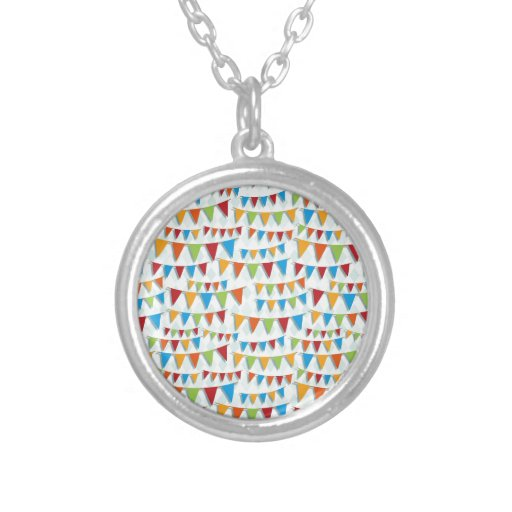 Party Bunting Round Pendant Necklace