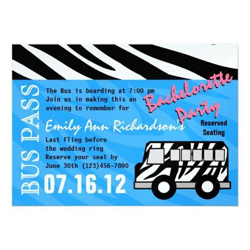 Personalized bus pass invitations custominvitations4u party bus bachelorette party bash custom invitations stopboris Images