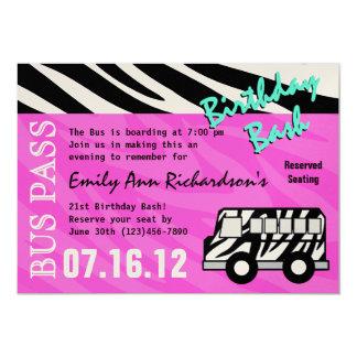 Party Bus Birthday Bash 5x7 Paper Invitation Card