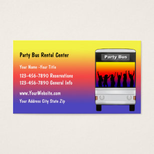 Party bus business cards templates zazzle party bus rental business card colourmoves