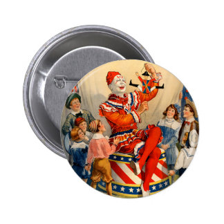 Party Button with Vintage Circus Poster