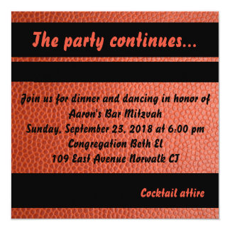 Party Card for Hoops Bar Mitzvah Collection