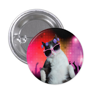 Party cat pinback button