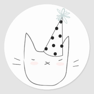 Party Cat Classic Round Sticker