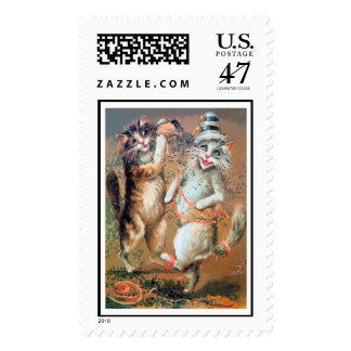 Party Cats - Anthropomorphic Cats Throw Confetti Postage