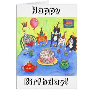 Party Cats!  Birthday kitty cats fun funny cards