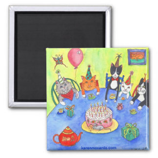 Party Cats!  Birthday kitty cats fun funny cards 2 Inch Square Magnet