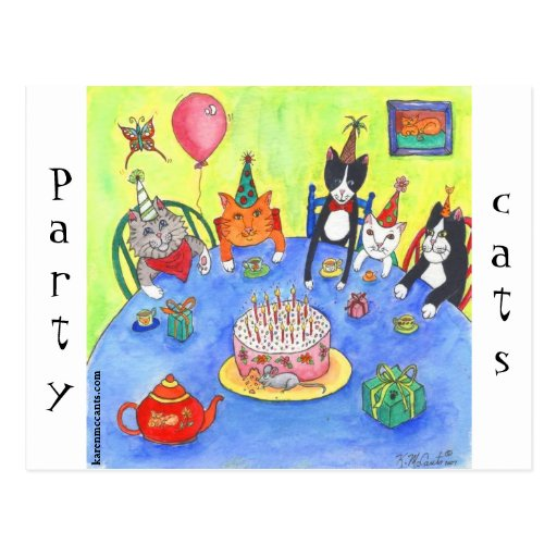 Party Cats!  Birthday kitty cats fun funny cards Post Card