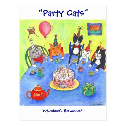 Party Cats!  Birthday kitty cats fun funny cards Postcard