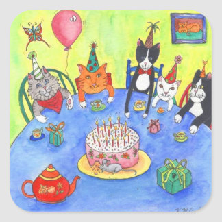 Party Cats!  Birthday kitty cats fun funny cards Square Sticker