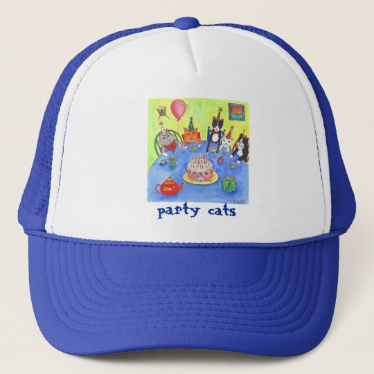 Party Cats!  Birthday kitty cats fun funny cards Trucker Hat