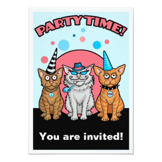 Party Cats with Hats 5x7 Paper Invitation Card