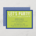 """PARTY CELEBRATION INFO modern bold royal blue lime Invitation<br><div class=""""desc"""">by kat massard >>> www.simplysweetPAPERIE.com <<< A simple design for your PARTY CARDS - to match your main invitations. Love the design, but would like to see some changes - another color scheme, product, add a photo or adapted for a different occasion - no worries simply contact me, KAT@SIMPLYSWEETPAPERIE.COM I...</div>"""