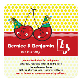 Party Cherries Twins Joint Birthday Photo Invite
