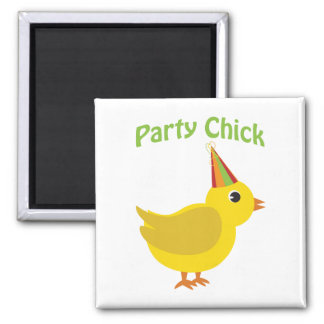 Party chick 2 inch square magnet