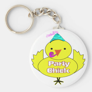 Party Chick Basic Round Button Keychain