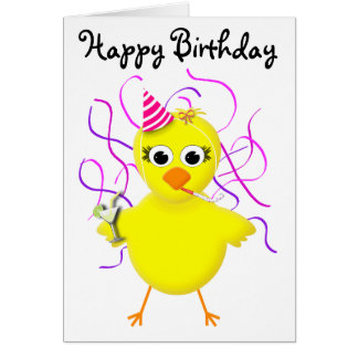 Party Chick Cute & Funny Cartoon Card