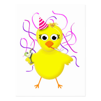 Party Chick Cute & Funny Cartoon Postcard