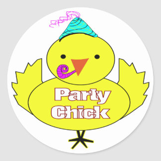 Party Chick Classic Round Sticker