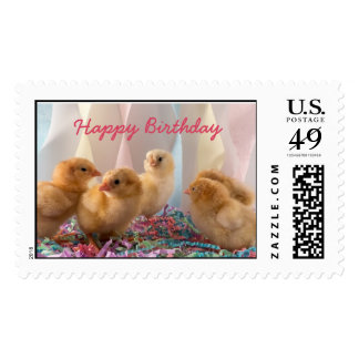 Party Chicks Yellow Baby Chickens Streamers Postage Stamp