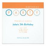 Party Circles - Centered - Blue & Orange Invitation