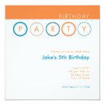 Party Circles - Orange & Blue Custom Invitations