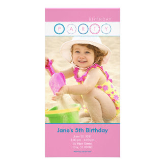 Party Circles - Personal Photo - Blue & Pink Personalized Photo Card