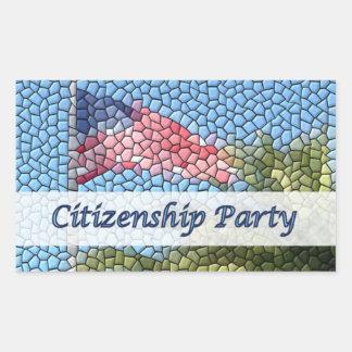 Party Citizenship US Flag Mosaic Rectangle Sticker