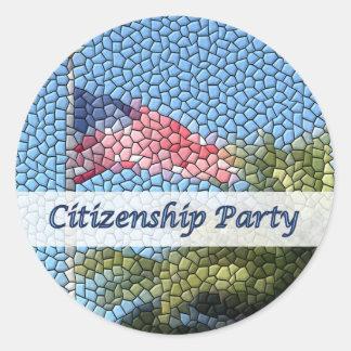Party Citizenship USA Flag Mosaic Round Sticker