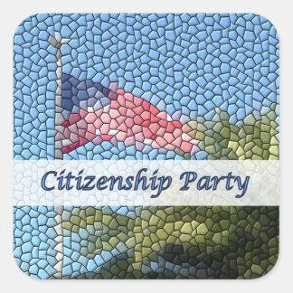 Party Citizenship USA Flag Mosaic Square Sticker
