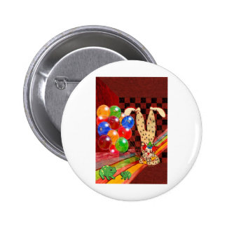 PARTY CLOWN AND FROGS.jpg Pinback Button