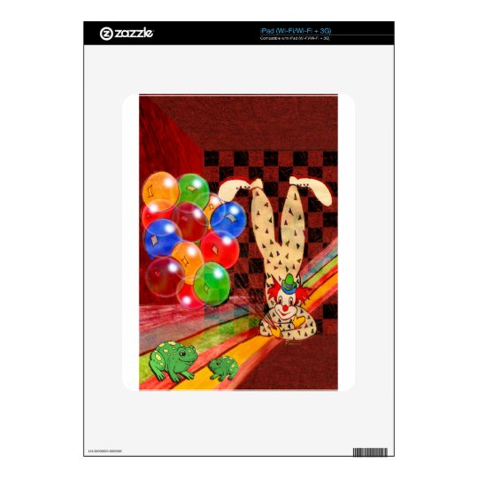 PARTY CLOWN AND FROGS.jpg Skin For The iPad