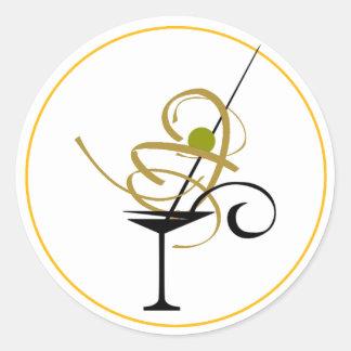 PARTY COCKTAIL MARGARITA DRINK, MARGERITA GLASS CLASSIC ROUND STICKER