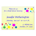 """Party Colors Bridal Shower 5"""" X 7"""" Invitation Card"""