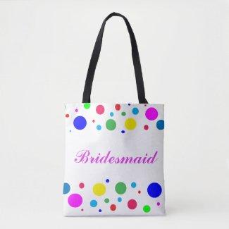Party Colors Bridesmaid Wedding Tote Bag