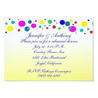 Party Colors Rehearsal Dinner Wedding 5x7 Paper Invitation Card